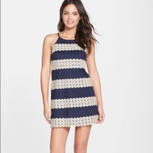 Lilly Pulitzer Annabelle Navy Blue Gold Lace Dress
